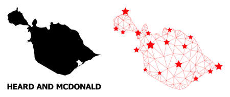 Mesh polygonal and solid map of Heard and McDonald Islands. Vector structure is created from map of Heard and McDonald Islands with red stars.