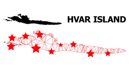 Carcass polygonal and solid map of Hvar Island. Vector model is created from map of Hvar Island with red stars. Abstract lines and stars are combined into map of Hvar Island. Ilustrace