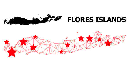 Carcass polygonal and solid map of Indonesia - Flores Islands. Vector structure is created from map of Indonesia - Flores Islands with red stars.