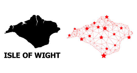 2D polygonal and solid map of Isle of Wight. Vector model is created from map of Isle of Wight with red stars. Abstract lines and stars form map of Isle of Wight. Vetores
