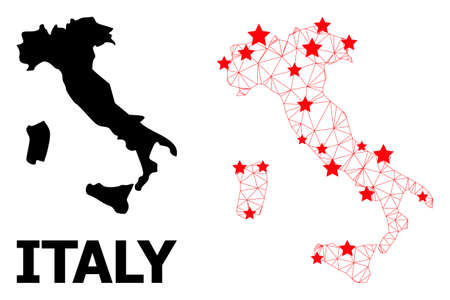 Network polygonal and solid map of Italy. Vector model is created from map of Italy with red stars. Abstract lines and stars form map of Italy.