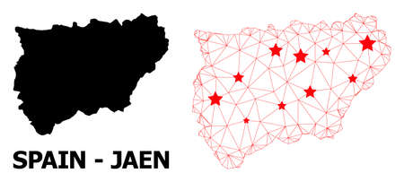 Network polygonal and solid map of Jaen Spanish Province. Vector model is created from map of Jaen Spanish Province with red stars.