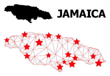 Carcass polygonal and solid map of Jamaica. Vector model is created from map of Jamaica with red stars. Abstract lines and stars form map of Jamaica. Ilustração