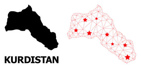 Network polygonal and solid map of Kurdistan. Vector structure is created from map of Kurdistan with red stars. Abstract lines and stars form map of Kurdistan.