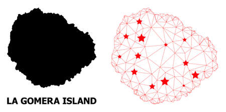 Mesh polygonal and solid map of La Gomera Island. Vector structure is created from map of La Gomera Island with red stars. Abstract lines and stars are combined into map of La Gomera Island.