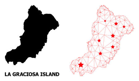 Mesh polygonal and solid map of La Graciosa Island. Vector structure is created from map of La Graciosa Island with red stars. Abstract lines and stars are combined into map of La Graciosa Island. Illustration