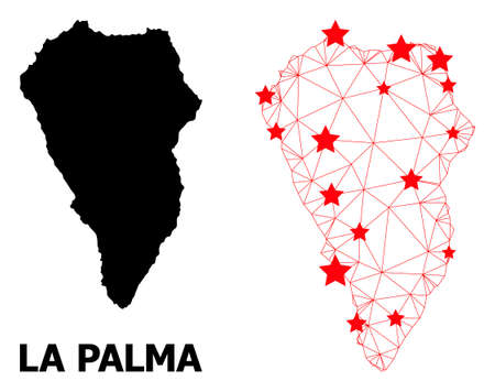 Wire frame polygonal and solid map of La Palma Island. Vector structure is created from map of La Palma Island with red stars. Abstract lines and stars are combined into map of La Palma Island. Illustration