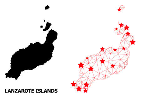 Wire frame polygonal and solid map of Lanzarote Islands. Vector model is created from map of Lanzarote Islands with red stars. Abstract lines and stars are combined into map of Lanzarote Islands. Illustration