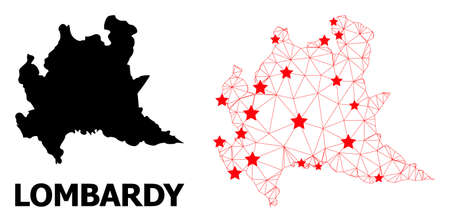 Wire frame polygonal and solid map of Lombardy region. Vector structure is created from map of Lombardy region with red stars. Abstract lines and stars form map of Lombardy region.