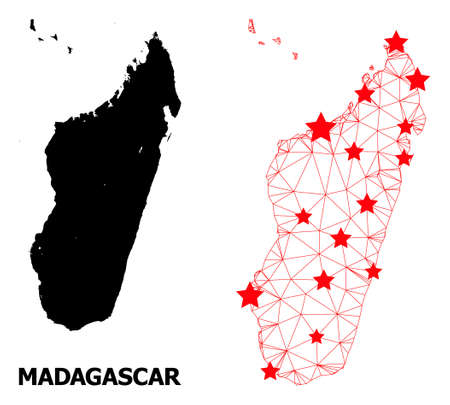 Wire frame polygonal and solid map of Madagascar Island. Vector model is created from map of Madagascar Island with red stars. Abstract lines and stars are combined into map of Madagascar Island. Vetores