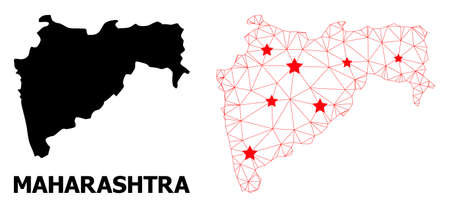 Network polygonal and solid map of Maharashtra State. Vector structure is created from map of Maharashtra State with red stars. Abstract lines and stars form map of Maharashtra State.