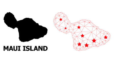 Network polygonal and solid map of Maui Island. Vector model is created from map of Maui Island with red stars. Abstract lines and stars are combined into map of Maui Island.