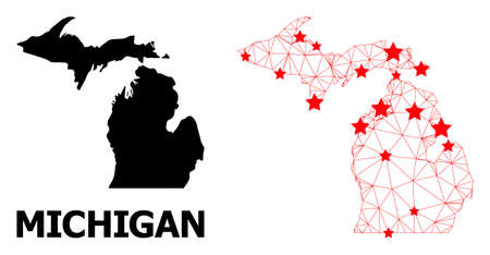 Wire frame polygonal and solid map of Michigan State. Vector model is created from map of Michigan State with red stars. Abstract lines and stars are combined into map of Michigan State.