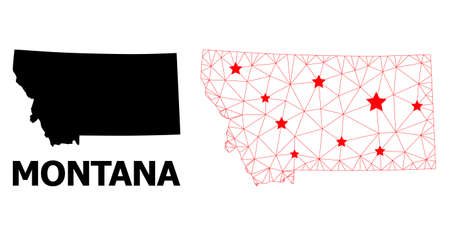 Carcass polygonal and solid map of Montana State. Vector model is created from map of Montana State with red stars. Abstract lines and stars are combined into map of Montana State.