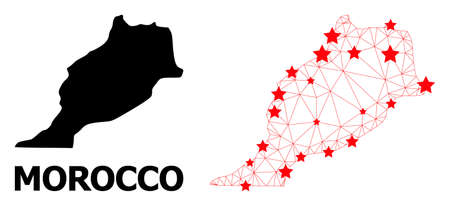 Network polygonal and solid map of Morocco. Vector structure is created from map of Morocco with red stars. Abstract lines and stars form map of Morocco.