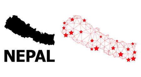 Network polygonal and solid map of Nepal. Vector structure is created from map of Nepal with red stars. Abstract lines and stars are combined into map of Nepal.