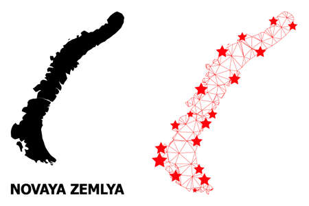 Wire frame polygonal and solid map of Novaya Zemlya Islands. Vector structure is created from map of Novaya Zemlya Islands with red stars.