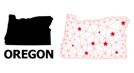 Network polygonal and solid map of Oregon State. Vector model is created from map of Oregon State with red stars. Abstract lines and stars form map of Oregon State.