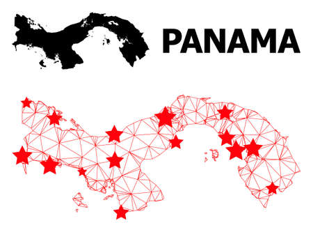 Wire frame polygonal and solid map of Panama. Vector structure is created from map of Panama with red stars. Abstract lines and stars form map of Panama. Illusztráció