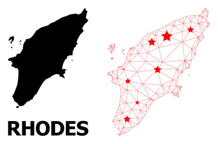 Network polygonal and solid map of Rhodes Island. Vector model is created from map of Rhodes Island with red stars. Abstract lines and stars are combined into map of Rhodes Island. Иллюстрация