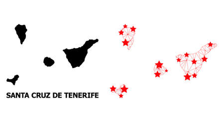 Wire frame polygonal and solid map of Santa Cruz de Tenerife Province. Vector model is created from map of Santa Cruz de Tenerife Province with red stars. Illustration
