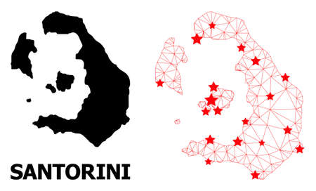 Network polygonal and solid map of Santorini Island. Vector structure is created from map of Santorini Island with red stars. Abstract lines and stars form map of Santorini Island.