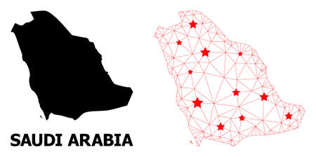 Carcass polygonal and solid map of Saudi Arabia. Vector model is created from map of Saudi Arabia with red stars. Abstract lines and stars are combined into map of Saudi Arabia. Ilustração