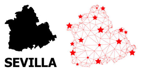 Carcass polygonal and solid map of Sevilla Province. Vector model is created from map of Sevilla Province with red stars. Abstract lines and stars form map of Sevilla Province.