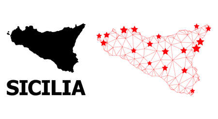 Network polygonal and solid map of Sicilia Island. Vector model is created from map of Sicilia Island with red stars. Abstract lines and stars form map of Sicilia Island.
