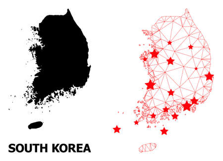 Carcass polygonal and solid map of South Korea. Vector structure is created from map of South Korea with red stars. Abstract lines and stars are combined into map of South Korea. Ilustração