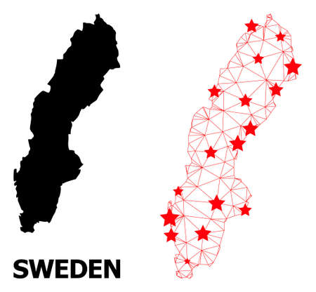 Mesh polygonal and solid map of Sweden. Vector model is created from map of Sweden with red stars. Abstract lines and stars are combined into map of Sweden.