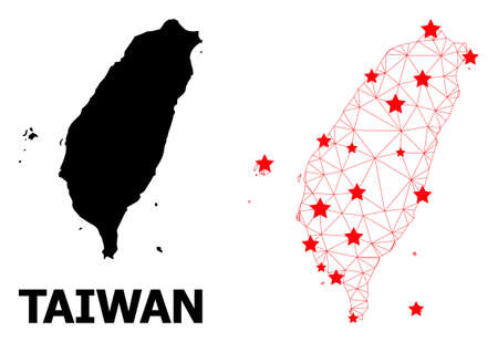 Wire frame polygonal and solid map of Taiwan. Vector structure is created from map of Taiwan with red stars. Abstract lines and stars form map of Taiwan. Ilustração
