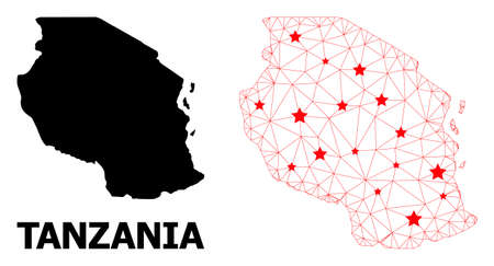 Carcass polygonal and solid map of Tanzania. Vector model is created from map of Tanzania with red stars. Abstract lines and stars are combined into map of Tanzania.