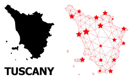 Network polygonal and solid map of Tuscany region. Vector model is created from map of Tuscany region with red stars. Abstract lines and stars form map of Tuscany region. 免版税图像 - 156583256