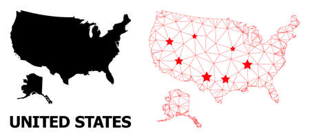 Wire frame polygonal and solid map of USA and Alaska. Vector structure is created from map of USA and Alaska with red stars. Abstract lines and stars are combined into map of USA and Alaska.
