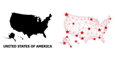 Mesh polygonal and solid map of USA territories. Vector structure is created from map of USA territories with red stars. Abstract lines and stars form map of USA territories.