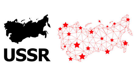Wire frame polygonal and solid map of USSR. Vector structure is created from map of USSR with red stars. Abstract lines and stars are combined into map of USSR.