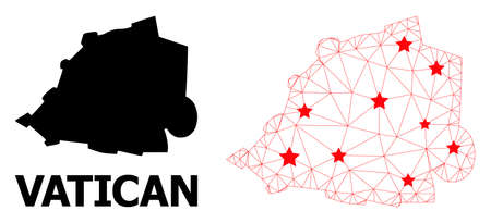 Carcass polygonal and solid map of Vatican. Vector structure is created from map of Vatican with red stars. Abstract lines and stars form map of Vatican. 向量圖像