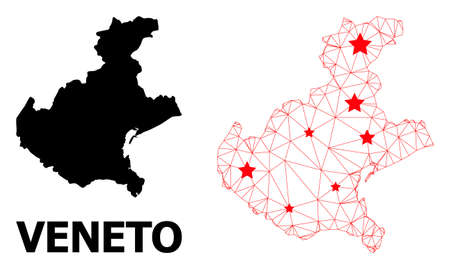 Wire frame polygonal and solid map of Veneto region. Vector structure is created from map of Veneto region with red stars. Abstract lines and stars are combined into map of Veneto region.