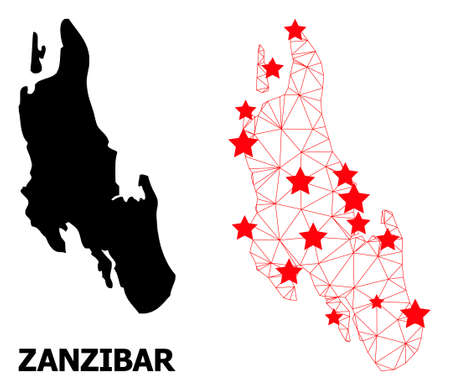 Network polygonal and solid map of Zanzibar Island. Vector structure is created from map of Zanzibar Island with red stars. Abstract lines and stars form map of Zanzibar Island.