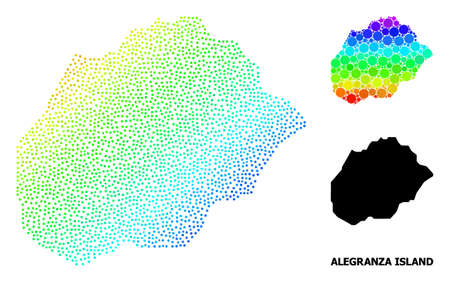 2D polygonal and solid map of Alegranza Island. Vector structure is created from map of Alegranza Island with red stars. Abstract lines and stars form map of Alegranza Island.