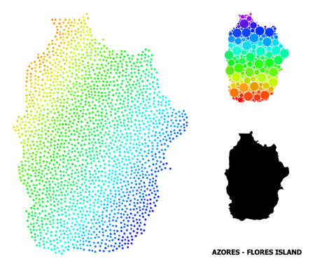 2D polygonal and solid map of Azores - Flores Island. Vector structure is created from map of Azores - Flores Island with red stars.