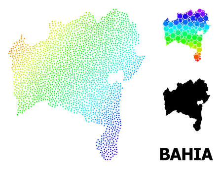 Mesh polygonal and solid map of Bahia State. Vector structure is created from map of Bahia State with red stars. Abstract lines and stars form map of Bahia State.