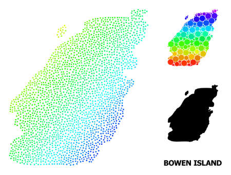 Mesh polygonal and solid map of Bowen Island. Vector model is created from map of Bowen Island with red stars. Abstract lines and stars form map of Bowen Island. 向量圖像
