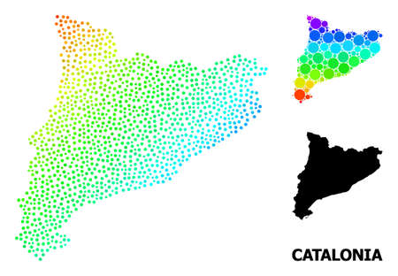 Wire frame polygonal and solid map of Catalonia. Vector model is created from map of Catalonia with red stars. Abstract lines and stars form map of Catalonia.