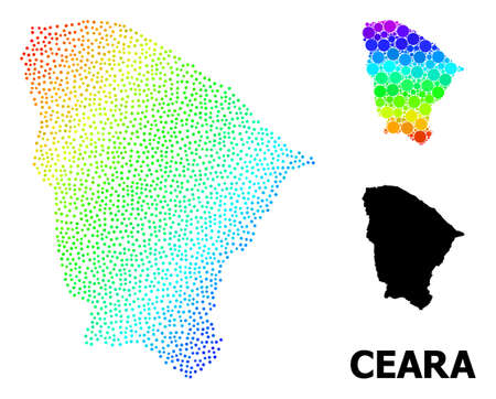 Carcass polygonal and solid map of Ceara state. Vector model is created from map of Ceara state with red stars. Abstract lines and stars are combined into map of Ceara state. Ilustração