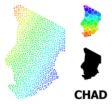 Network polygonal and solid map of Chad. Vector structure is created from map of Chad with red stars. Abstract lines and stars form map of Chad. Wire carcass 2D polygonal network in vector EPS format.