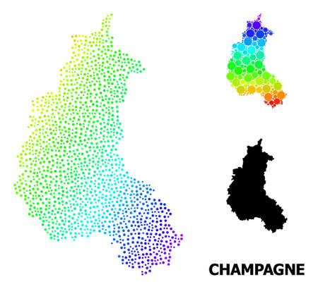 Pixel spectrum, and solid map of Champagne Province, and black tag. Vector structure is created from map of Champagne Province with spheres. Collage for geographic posters.