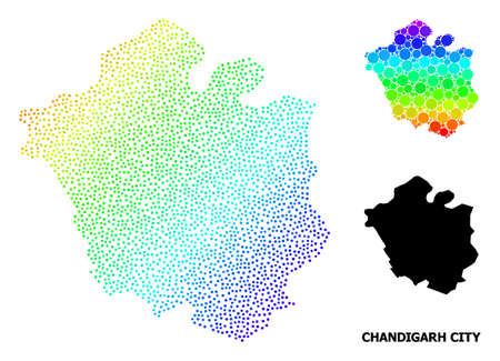Dotted bright spectral, and solid map of Chandigarh City, and black caption. Vector model is created from map of Chandigarh City with spheres. Abstraction is useful for political posters.