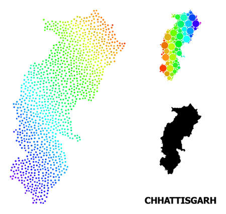 Dotted rainbow gradient, and solid map of Chhattisgarh State, and black caption. Vector model is created from map of Chhattisgarh State with spheres. Collage is useful for geographic purposes.